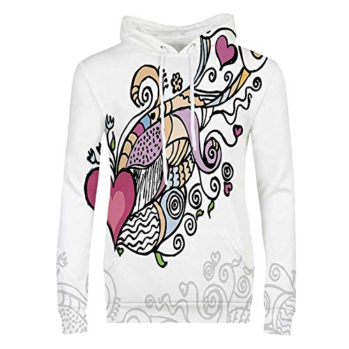 Doodle Durable Hoodies,Cute Drawing of a Flying Heart Waving Bannerlike Objects Love Valentines Inspired for Women,L