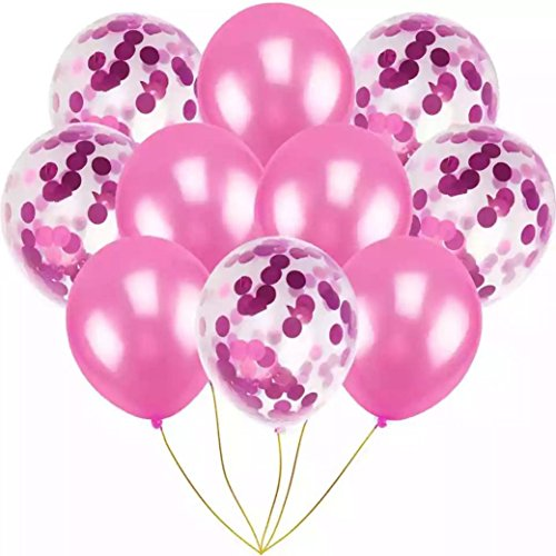 10PCS/set Confetti Balloons 12'' Latex Balloons for Birthday Party Proposal Wedding Anniversary Decoration, 3 Colors Available Gessppo (Hot pink) ()