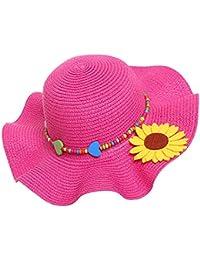 Kids Girls Multi-Colors Large Brim Flower Beach Sun Hats,Fuchsia