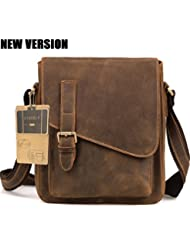 AIDERLY Mens Classic Leather Messenger Bag Crossbody Ipad Bag Single Shoulder Bags