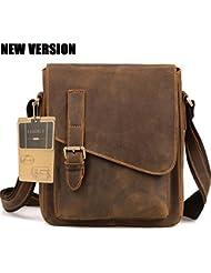 AIDERLY Mens Classic Leather Messenger Bag Crossbody Ipad Bag Single Shoulder Bags