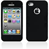 iPhone 4S Case, MagicMobile Hybrid Impact Shockproof Cover Hard Armor Shell and Soft Silicone Skin Layer [ Black - Black ] with screen protector and stylus