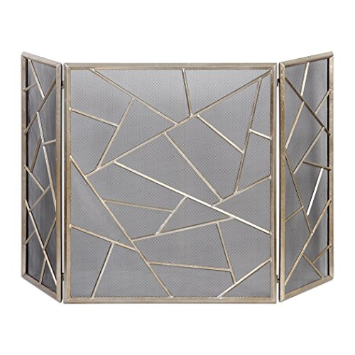 Zinc Decor Modern Lines 3 Panel Fireplace Screen with Protective Mesh Backing