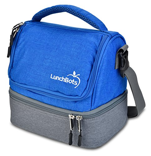 LunchBots Duplex Insulated Lunch Bag - Dual Section Design Fits LunchBots Uno, Duo, Trio, Quad, Rounds, Bento Cinco Perfectly - Roomy Thermal Lunch Bag for Kids and Adults - Royal by LunchBots