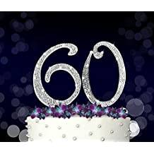 60, 60th Happy Birthday Cake Topper, Anniversary, Crystal Rhinestones on Silver Metal, Party Decorations, Favors, Vow Renewal