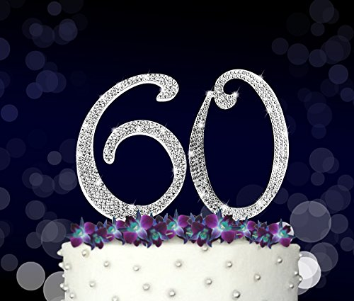 Cake 60th Birthday (60, 60th Happy Birthday Cake Topper, Anniversary, Crystal Rhinestones on Silver Metal, Party Decorations, Favors, Vow Renewal)