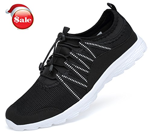 Belilent Herren Athletic Laufschuhe - Casual Fitness Schuhe Fashion Sneakers Leichtes Mesh Soft Sole Schwarz-Weiss