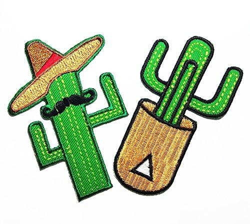 Tribal Flame Trim (PP patch Set 2 Cactus put a mustache hat patch , Cactus patch DIY Applique Embroidery Iron on Patch)