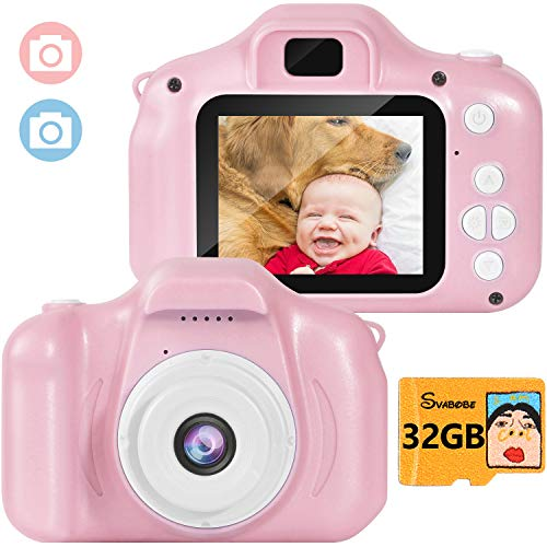 Kids Digital Camera Video Mini Rechargeable Camcorder 2 Inch IPS Screen with 32GB TF Card for Girls Children Toddler 3-10 Year Old Birthday Christmas New Year Toy Gift (Pink)