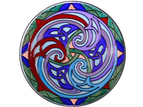 "Celtic Triskele 10"" Diameter Violet/Blue Art Glass Stained Glass Piece"