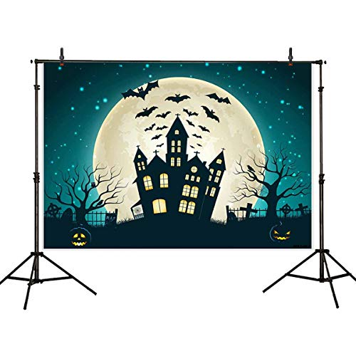Allenjoy 7X5ft Halloween Photography Backdrop Party Photo Booth Backdrop Castle Pumpkin Rip Night Background Children,Adult ()