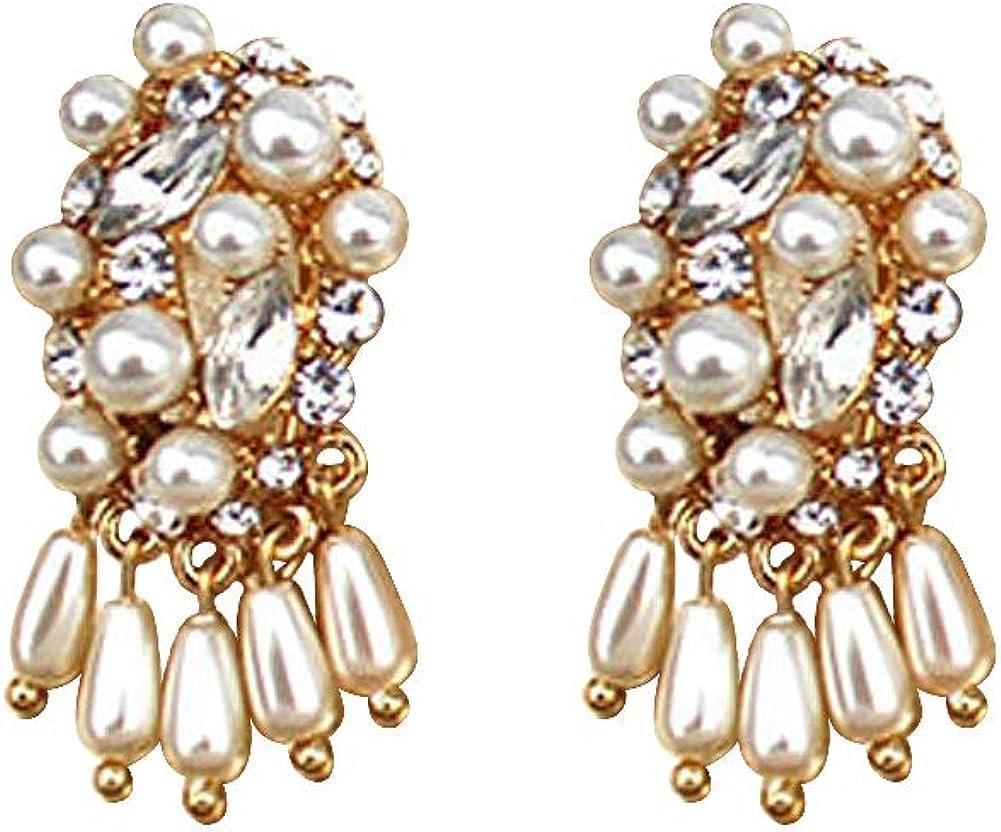 Pendientes Vintage Conjunto de Perlas de Diamantes de Aleación Chapado en Oro Colgante Largo Elegante Pendientes de Moda Mujer Joyería Regalos