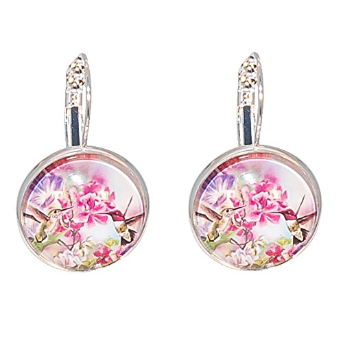 Créative Perles - Boucles d'oreilles Cabochon rond Petits Colibris fleurs violettes et roses - Rose