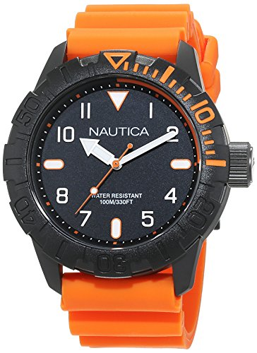Nautica Men's'NSR 106' Quartz Stainless Steel and Silicone Casual Watch, Color:Orange (Model: NAD10082G)