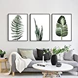 Green Plant Series Canvas Print, Wall Art, Poster, Airbnb Home Decor. Sofa / Cafe / Office / Hotel Painting, Housewarming Gift. 3pcs. Unframed. (40 x 60 cm / 15.7 x 23.6 in)