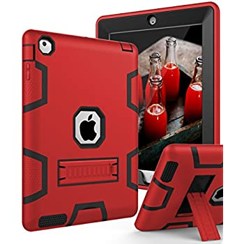 iPad 4 Case,iPad 3 Case,iPad 2 Case,TIANLI(TM) ArmorBox [Three Layer] Convertible [Heavy Duty] Rugged Hybrid Protective With KickStand Case For iPad 2/3/4 Generation ,Red/Black