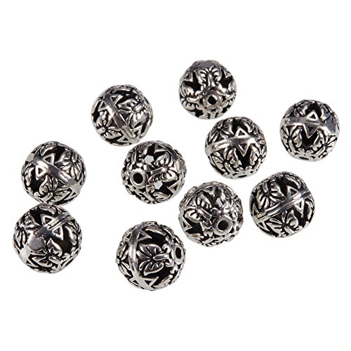 PandaHall Elite About 10pcs Vintage Round Brass Hollow Filigree Beads Antique Silver Size 8mm