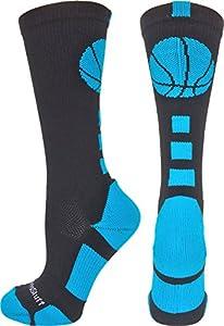 MadSportsStuff Basketball Logo Crew Socks (Black/Electric Blue, X-Large)