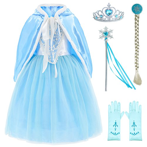 Princess Snow Queen Elsa Costumes Fancy Party Birthday Dress Up for Girls with Accessories 6-7 Years(130cm)]()