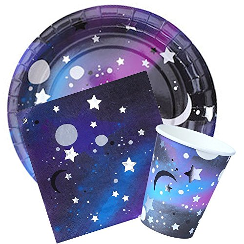(We Love Sundays Galaxy Party Bundle | Plates, Cups, Napkins | Great for Outer Space/Stars and Moon Themed Parties)