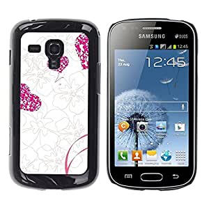 LECELL -- Funda protectora / Cubierta / Piel For Samsung Galaxy S Duos S7562 -- Love Pink Floral Heart Pattern --