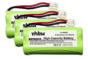 3 x vhbw Set baterías 800mAh para teléfono fijo inalámbrico South Western Bell 2100, 2300, por BC102906, 87C, BT-34H, 60AAAH2BMJ, T377.