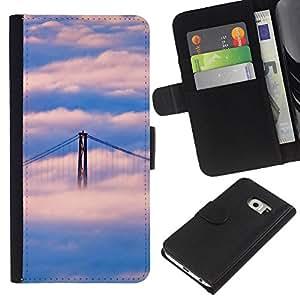 KLONGSHOP // Tirón de la caja Cartera de cuero con ranuras para tarjetas - Naturaleza Puente de San Francisco Nube - Samsung Galaxy S6 EDGE //