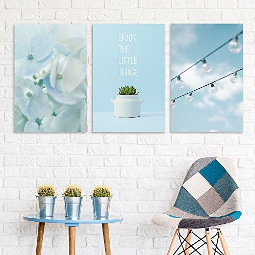 3 Panel Flowers and Bulbs with Enjoy the Little Things Quotes Gallery x 3 Panels