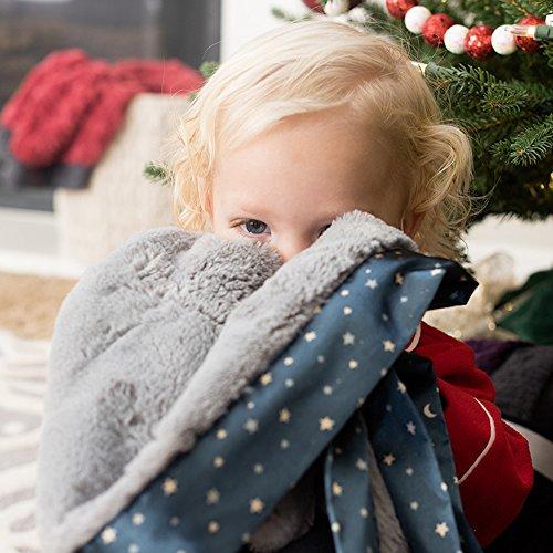 Saranoni Satin Border Receiving Blankets For Babies Super Soft Lush Luxury Baby Blanket (Gray Lush Navy Twinkle Star Satin Border, Receiving Blanket 30