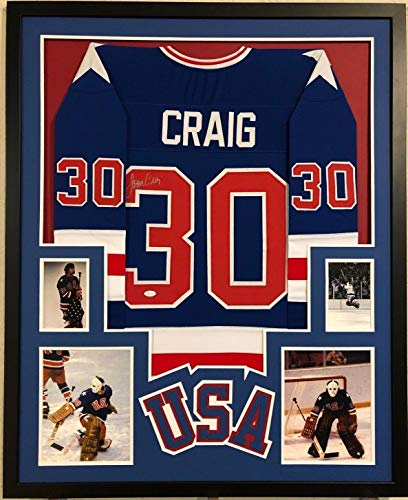 FRAMED JIM CRAIG AUTOGRAPHED SIGNED 1980 MIRACLE USA HOCKEY JERSEY JSA COA (Jersey 1980 Autographed Usa Hockey)