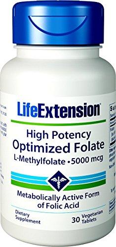 30 Acid Folic Tablets (Life Extension High Potency Optimized Folate 30 Vegetarian Tablets)