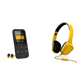 Reproductor MP4 con tecnología Bluetooth , 16 GB, auriculares intrauditivos, radio FM, MicroSD + Auriculares con micrófono , Control reproducción, ...
