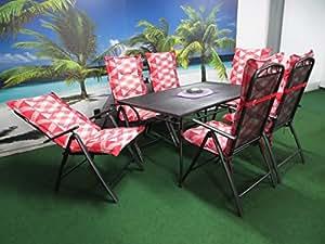 13Juego de lujo metal muebles de jardín grupo de madiosn y RRR,–Silla plegable, 8cm de tumbonas Rojo A Cuadros y jardín mesa 150x 90Antracita, P30