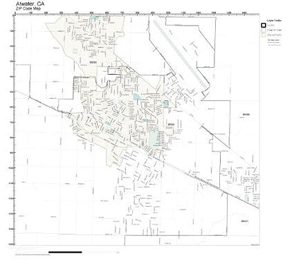 Amazon.com: ZIP Code Wall Map of Atwater, CA ZIP Code Map Not