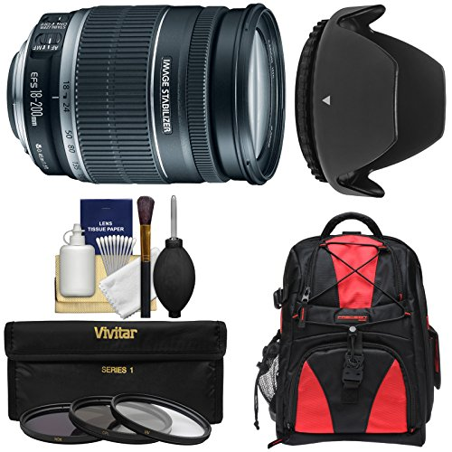 Canon EF-S 18-200mm f/3.5-5.6 IS Zoom Lens with Backpack + 3