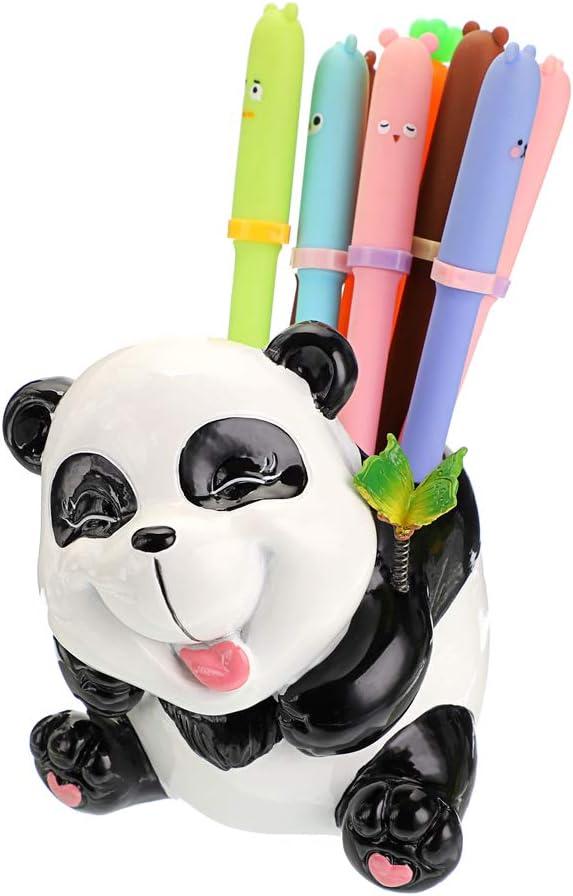 BTSKY Cute Resin Animal Organizer Pen Cups Pencil Holder Office Desktop Stationery Organizer Panda