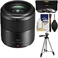 Panasonic Lumix G 30mm f/2.8 MEGA OIS Macro Lens with Tripod + 3 UV/CPL/ND8 Filters + Kit