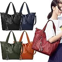 Women Shoulder Bag Handbag PU Leather Tassel Solid Crossbody Bag Casual Tote Vintage Bag