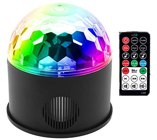 Wireless Party Lights, DJ Lights, Stage Lights, Disco Ball Lights, 9 Colours Sound Activated Strobe Magic Lights, Powered by USB Charging With Remote Control for Christmas Party KTV Nightclub Bar -