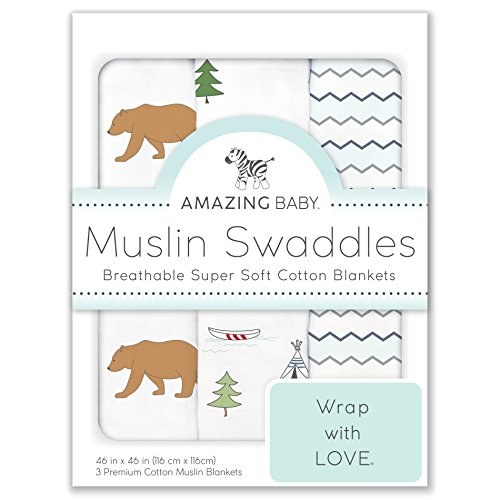 Amazing Baby Cotton Muslin Swaddle Blankets, Set of 3, Outdo