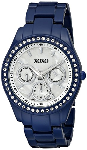 Enamel Watch Bracelet (XOXO Women's XO5299A Rhinestone Accent Dark Blue Enamel Bracelet Watch)