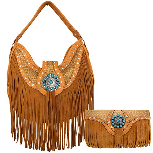 (Western Style Fringe Conchos Leather Concealed Carry Purse Country Handbag Women Shoulder Bag Wallet Set (Tan))