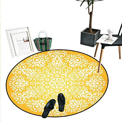 (Yellow Round Small Door Mat Snowflake Like Floral Artistic Pattern Design with Tribal Inspired Artwork Indoor/Outdoor Round Area Rug (2' Diameter) Yellow and White)