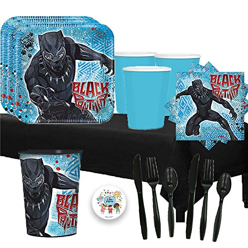 Black Panther Birthday Party Pack for 16 with Plates, Cups, Napkins, Cutlery, Tablecover, and 1 Favor Cup!