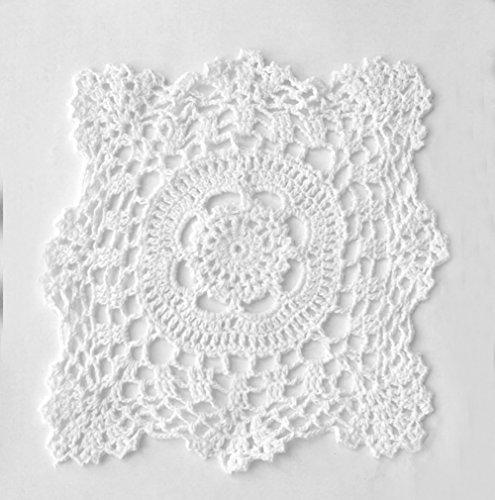 Fennco Styles Handmade Crochet Traycloth Cotton Doilies (8-inch Square Set of 4, White) ()
