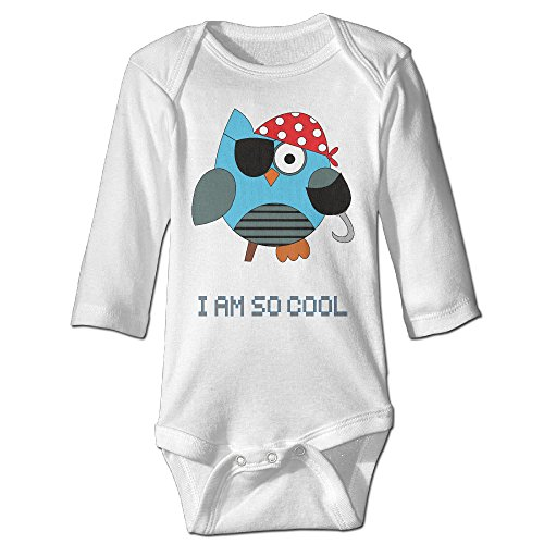 Pirates Owl One Eye Cartoon Cool Foot Cute Boy And Girl Infants Climb Clothes 6 M White