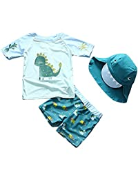 80a533eae4 Baby Toddler Boys Two Pieces Swimsuit Set Swimwear Dinosaur Bathing Suit  Rash Guards with Hat UPF