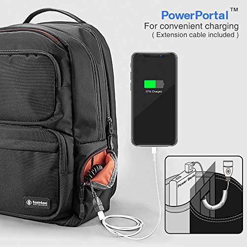 Cable Inch Men Travel Anti Business 26l Backpack Daypack 6 Tomtoc Charging For Large Laptop Luggage Pocket 15 Port Women Shoulder Available Bag With Black Usb amp; Organizer Belt theft qOnSnYw