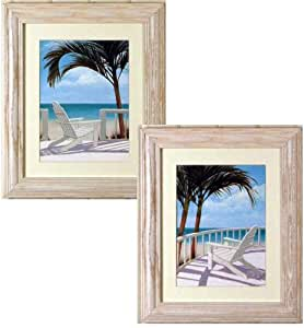 set of 2 adirondack chair beach scene decor framed art prints posters prints. Black Bedroom Furniture Sets. Home Design Ideas