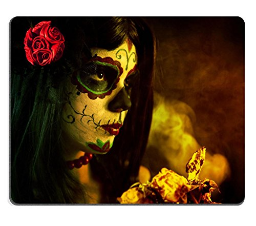 [MSD Natural Rubber Gaming Mousepad IMAGE ID: 10546187 Artistic shot of sugar skull girl with dead roses selective focus on] (Danger Mouse Halloween Costume)